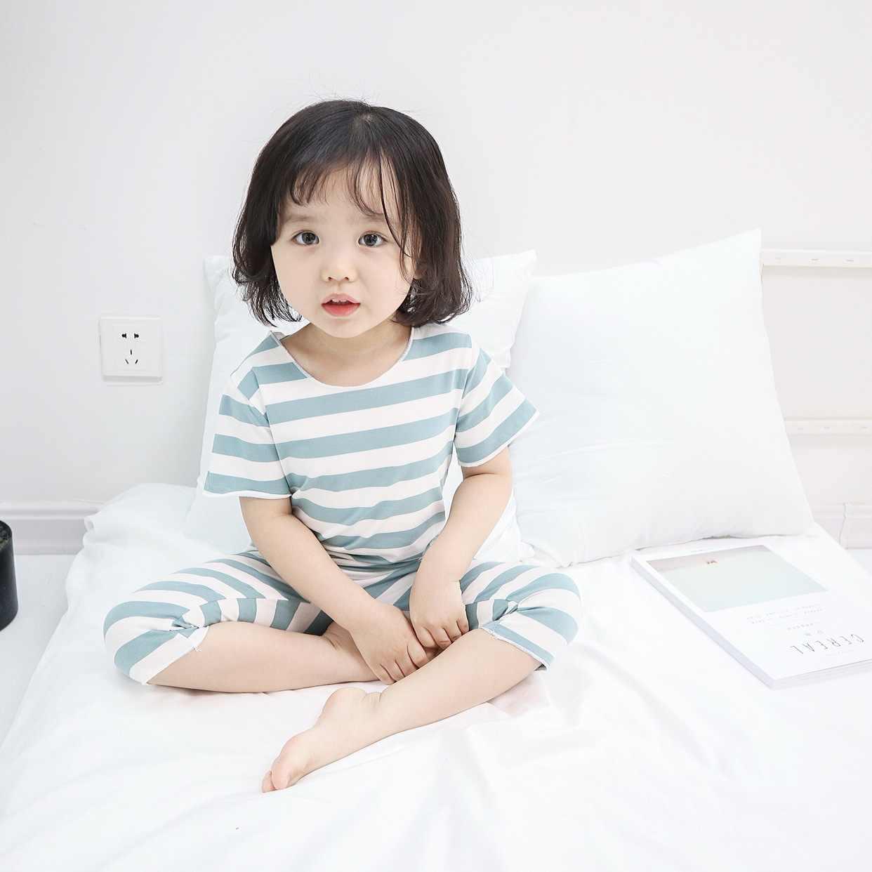 Cienkie słodkie dziewczynek ubrania letnie maluch dzieci dzianiny topy w paski + spodenki do spania w domu garnitur dzieci dziewczyna dla dzieci zestawy dla dzieci stroje