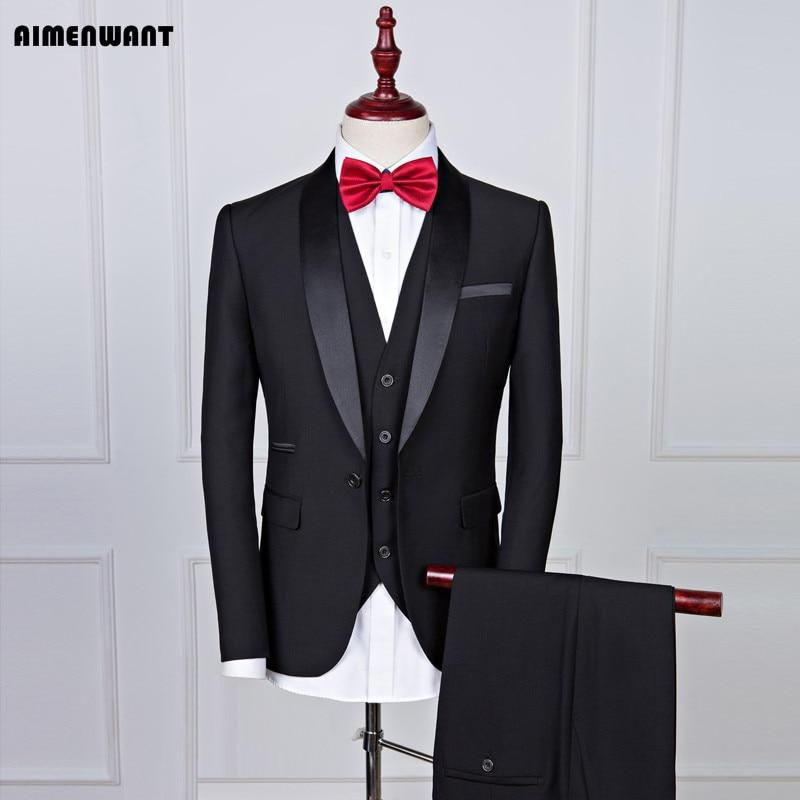AIMENWANT Mens Suits Europe Shawl Collar Groom Wedding Suit Set Gentle Man Slim Black Blazer+Pants Set Male Prom Suit Tailor