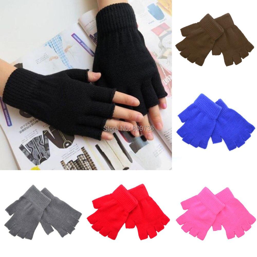 Mens gloves knitting pattern - Men Black Knitted Stretch Half Finger Fingerless Gloves For Winter Women Soft Warm Elastic Mittens Accessories