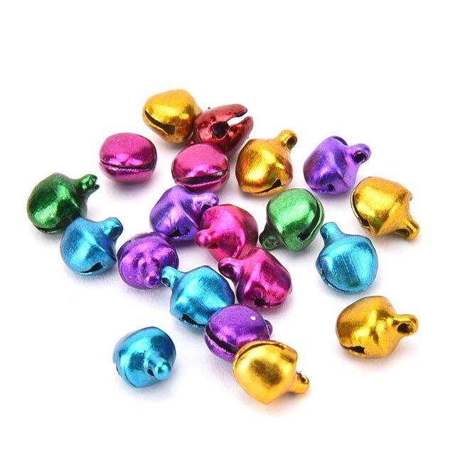 100 cái Loose Hạt Đầy Màu Sắc Nhỏ Jingle Bell Chuông Giáng Sinh Trang Trí Mặt Dây DIY Thủ Công Làm Bằng Tay Phụ Kiện 6/8/10/12 mét