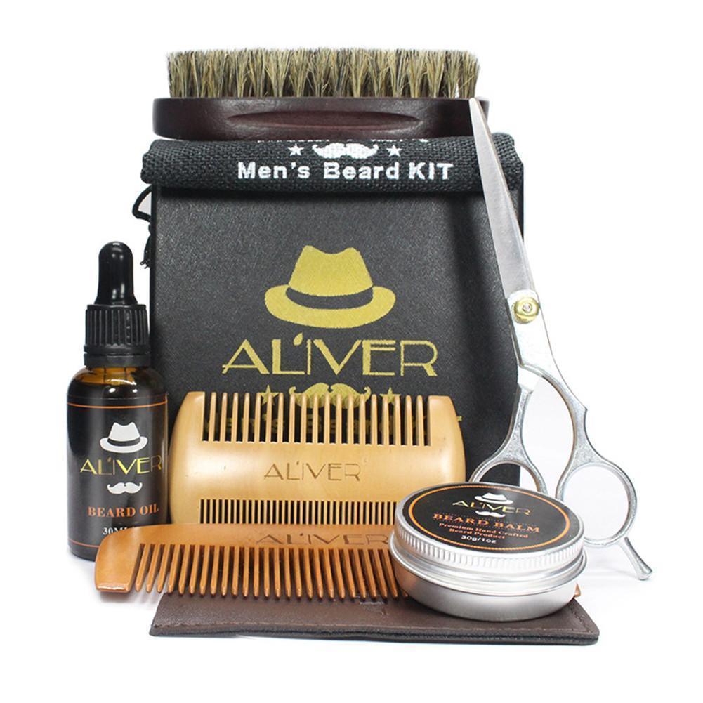 6PCS Men Beard Oil Kit With Beard Oil Brush Comb Beard Cream Scissors Grooming Trimming Kit Male Beard Care Set