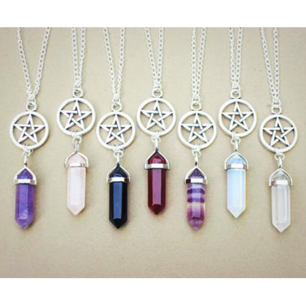 New Hot Hexagonal Crystal Tiger Eye turquoises pendentif amethyste Stone Pendant Chains Necklace For Women Jewelry