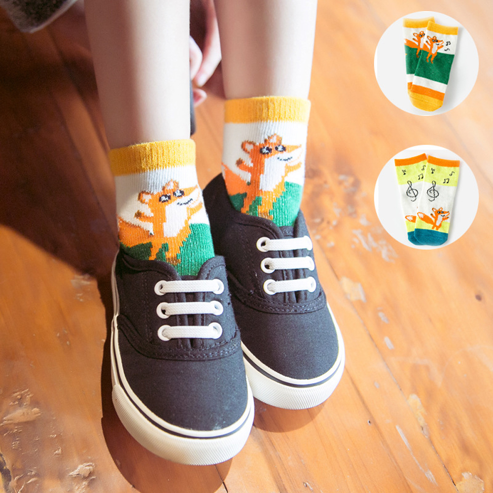 Baby Kids Socks Cotton Breathable Socks Cute Fox And Stave Printed Socks For 1-10T Children
