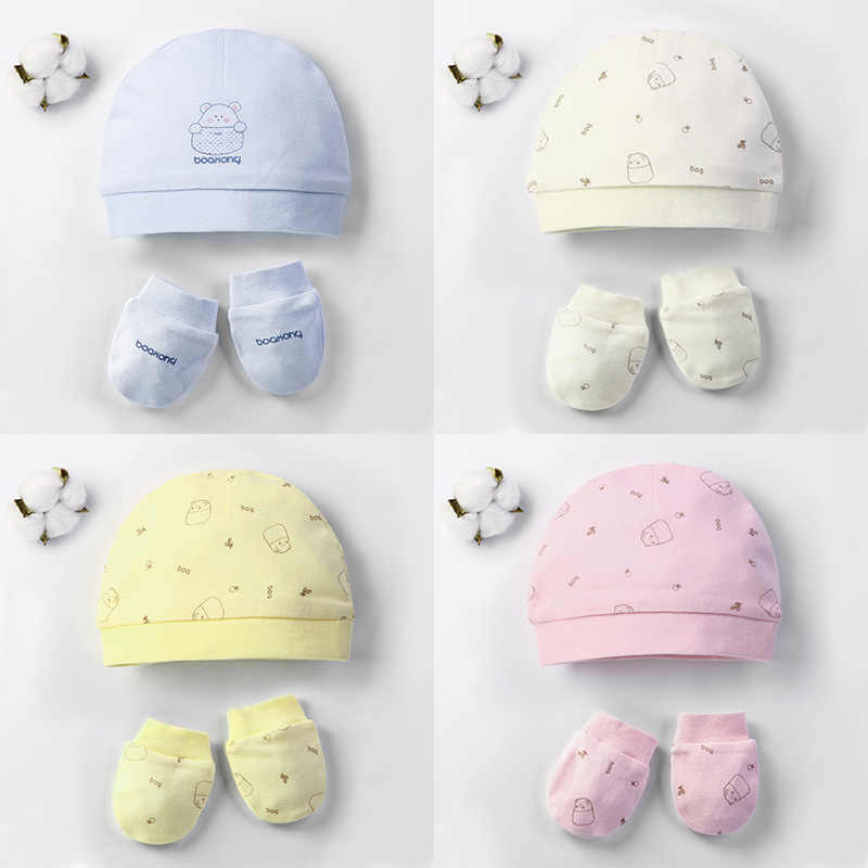 Autumn Winter Baby Hat and Mittens Girl Boy Cap Socks Comfy Infant Hat & Gloves Cotton Toddler Newborn Baby Accessorise For 0-3