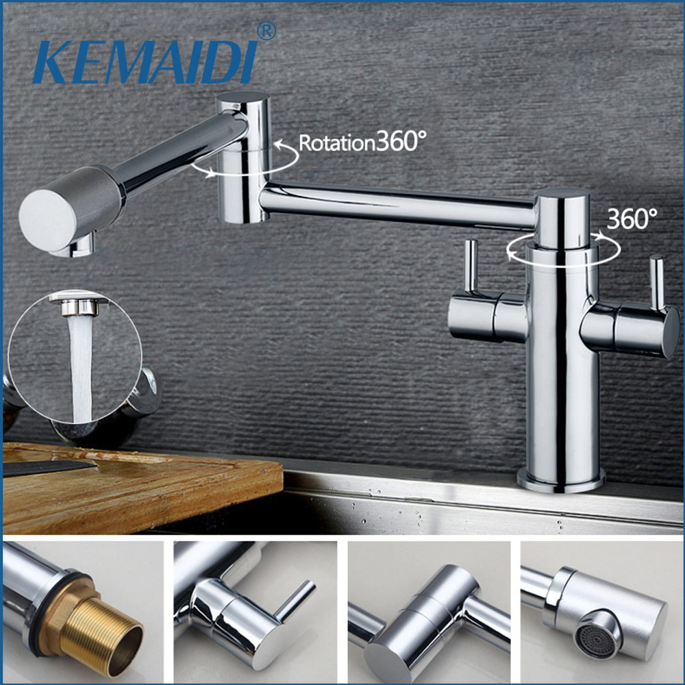 KEMAIDI Modern Single Hole Chrome Swivel Kitchen Sink &Bathroom Wash Basin Sink Vessel Kitchen Torneira Cozinha Tap Mixer Faucet s 113 modern single hole chrome swivel kitchen sink