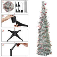 Plastic Stand Shiny Holly Leaves Green Tree With Reflective Sequins Christmas Tree Decoration Simulation Christmas Tree