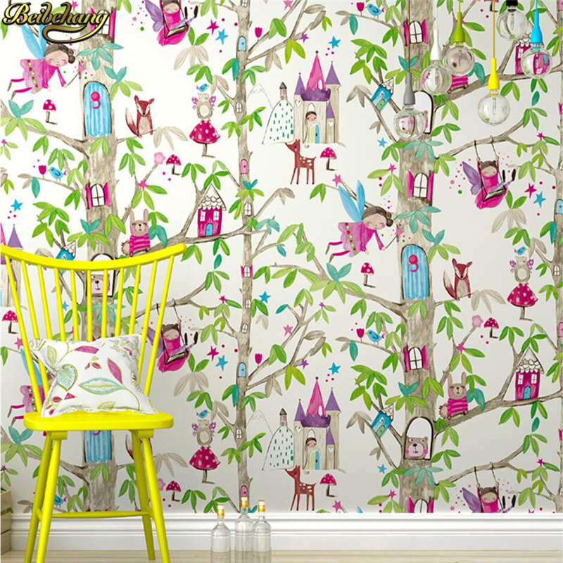 beibehang Cartoon Castle Flower Fairy Princess Room Wallpaper For Walls Living room tree wall paper rolls home improvement panel beibehang wall paper pune girl room cartoon children s room bedroom shop for environmental non woven wallpaper ocean mermaid