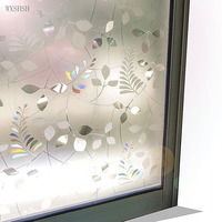 New 60*400 cm Frosted Laser Leaf Decorative Window Film,Self Adhesive 3D Stained Static Cling Privacy Protective Glass Stickers