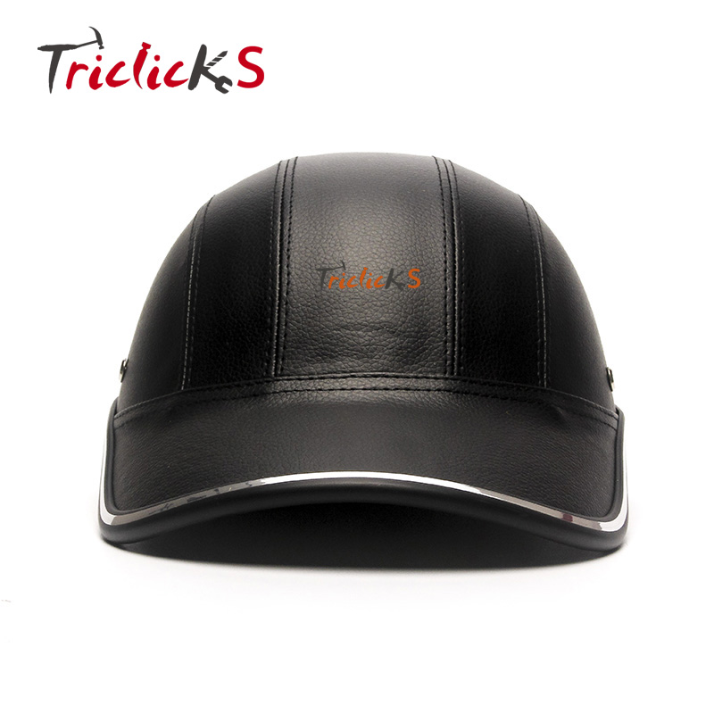 Triclicks Motorcycle Bike Scooter Half Helmet Baseball Cap Style Safety Hard Hat Open Face Man Helmets Protection Half Shell New triclicks wwii german style dot motorcycle helmet black retro vintage half face helmets motorcycle street protection half helmet