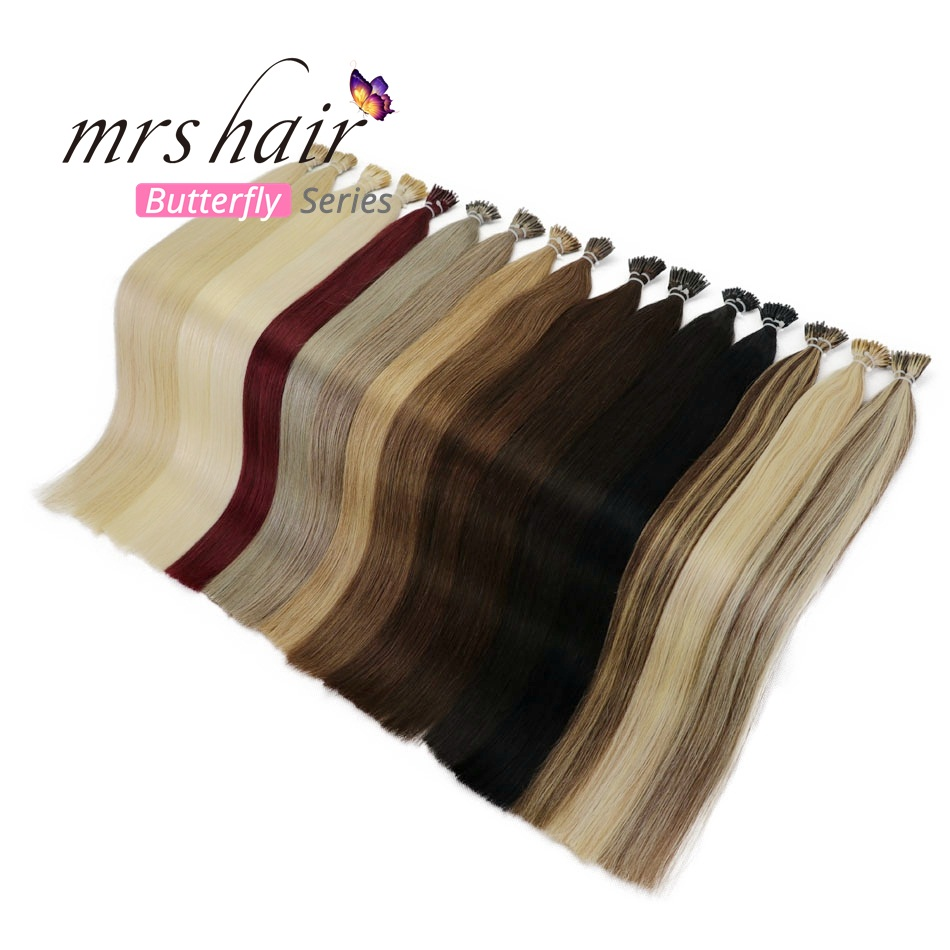 "MRSHAIR 1g/pc 16"" 20"" 24"" Pre Bonded Hair Extensions I Tip Machine Made Remy Straight Human Hair On Capsule Real Hair 50pc 100pc"