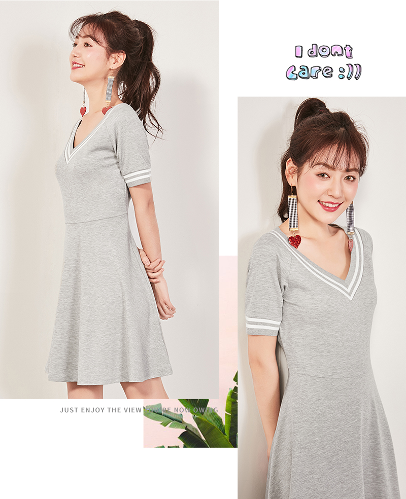 Semir 2018 Summer New Dress Female Slim V-neck Waist Temperament Dress Student Hit Color Pleated Lady Dress For Women 8
