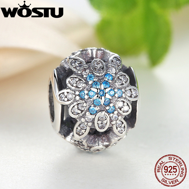 100% 925 Sterling Silver Crystalized Snowflakes Charms Fit Original Pandora Bracelet Pendant Fashion DIY Authentic Jewelry