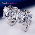 Yunkingdom white gold plated  charms jewelry hoop earrings cubic zirconia pretty earrings