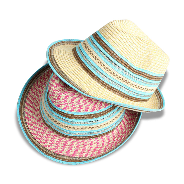 NOVAS listras de Cor Da Moda Verão chapéus de sol para mulheres homens praia  férias aba 7c48b6e604b