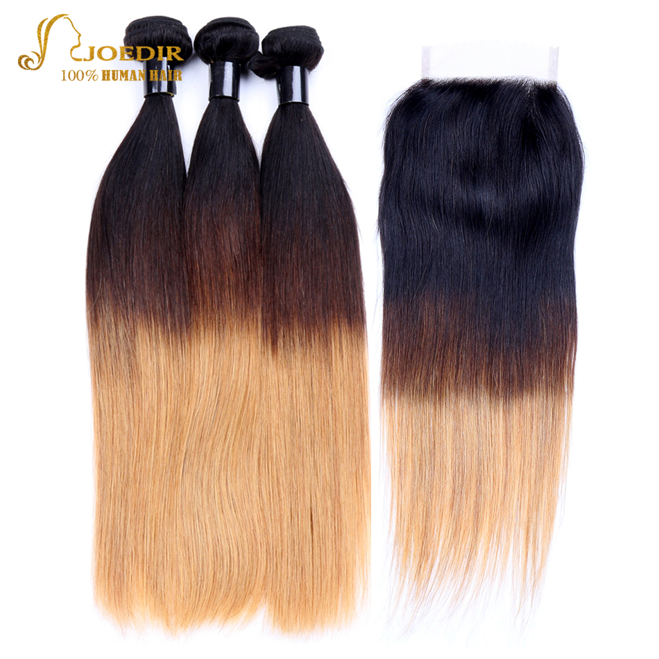 Joedir Ombre Human Hair Bundles with Closure Indian Straight Hair Extensions 3 Bundles with Closure 3 Colors T1B/4/27 Free Ship