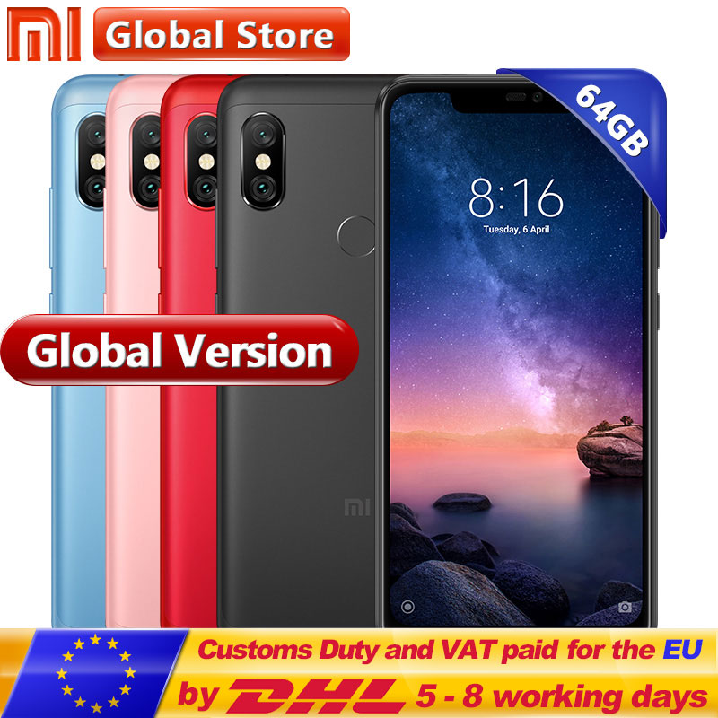Mondial version Xiaomi Redmi Note 6 Pro 4 gb 64 gb Snapdragon 636 Octa Core 4000 mah 6.26 19:9 plein Écran 12MP + 5MP Double Caméra