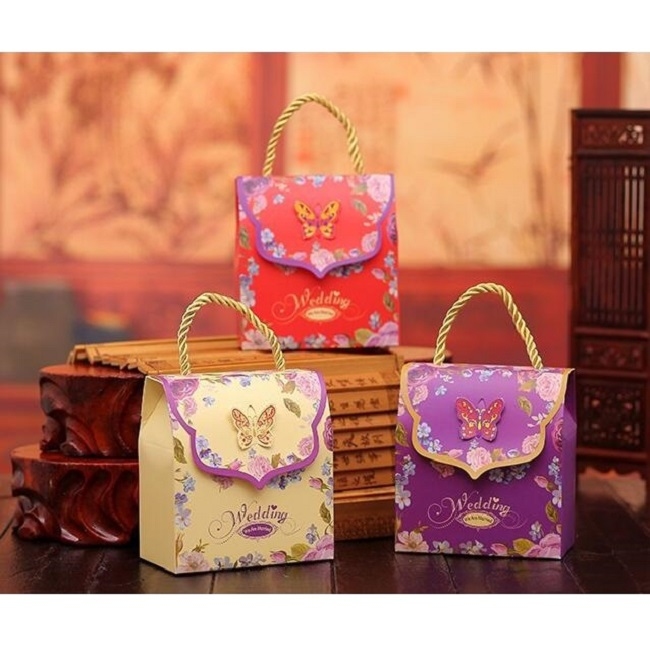 Small Wedding Gift Bags: Small Wedding Candy Paper Bag With Gold Handle 100pcs/lot