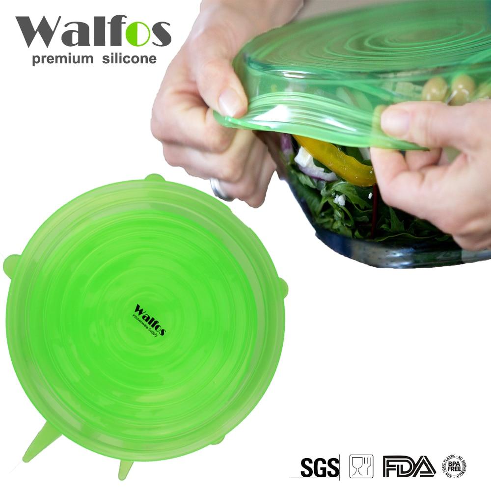 ВАЛФОС 6 Пиецес Универзална силиконска облога за храну Поклопац посуде с поклопцем Силиконска облога