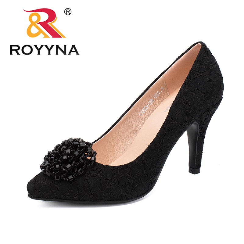 ROYYNA New Arrival Elegant Style Women Pumps Pointed Toe Women Dress Shoes High Thin Heels Lady Wedding Shoes Fast Free Shipping royyna new sweet style women sandals cover heel summer gingham women shoes casual gladiator ladies shoes soft fast free shipping