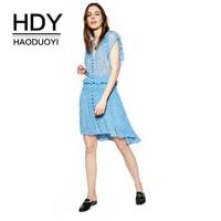 HDY Haoduoyi Apparel 2017 Summer Women Dress Casual Floral Printed Female Ruffles Mini Dress A Line