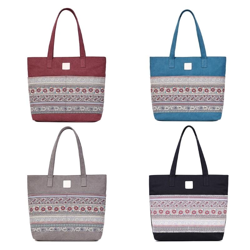 Beach Shoulder Bag Handbag Hobo Canvas Shopping Tote Zipper Large