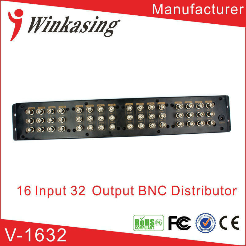 16-In-32-Out Composite BNC Video Distributor Video Splitter including Power Supply bnc video distributor 16 in 64 out composite amplifier 16ch to 64ch splitter for cctv security camera dvr system