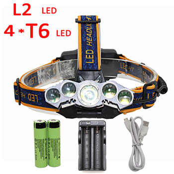 XM-L2 + 4x T6 Headlamp 5 LED Headlight 4 Mode Head Lamp Light Flashlight Torch Lantern + 2x 18650 battery + Charger - DISCOUNT ITEM  41 OFF Lights & Lighting