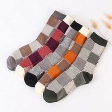 autumn winter creative thick lines men cotton socks male vintage gridiron pattern long socks 5pairs lot