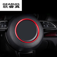 Car Red Gold Aluminum Alloy Car Steering Wheel Decoration Ring Sticker Decals Car Styling For Audi