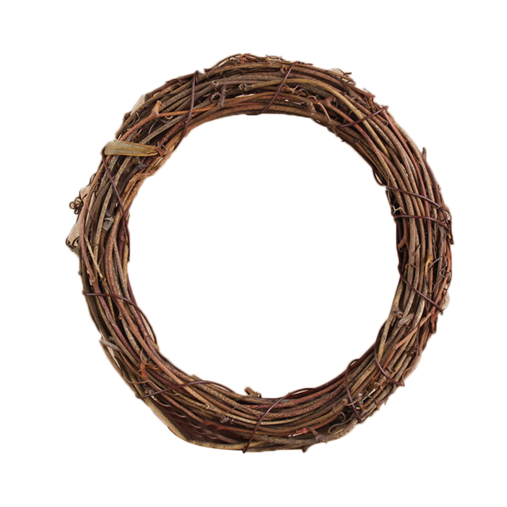Retro Christmas Wreath Hang Natural Garland Dried Rattan Xmas Home Wall Decor P7Ding