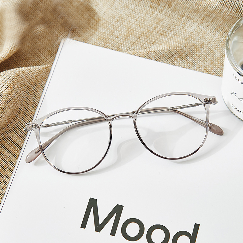 Acetate Unisex Solid Alloy Glasses Frame Women  Prescription Glasses  Fashion Designer Metallic Circle Glasses Myopia Glasses