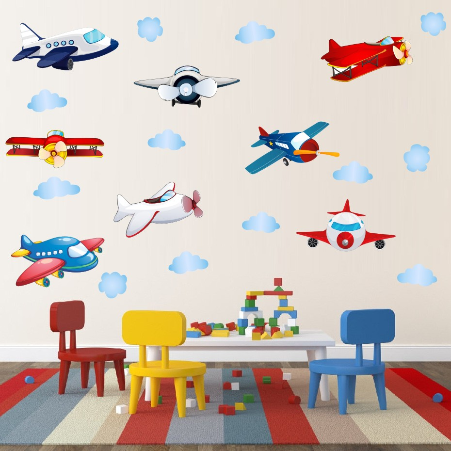 Could Stars Plane Rocket Cartoon Wall Art Decal For Kid Nursery Bedroom Home Decor Vinyl Wall Sticker Removable Modern Wallpaper (6)