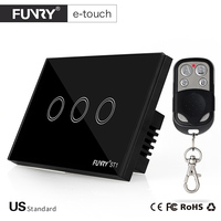 US Standard FUNRY Remote Control Switch 3 Gang 1 Way RF433 Smart Wall Switch Wireless Remote