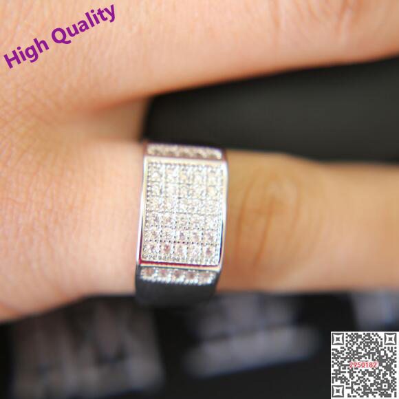Square Signet Ring Silver Color Engagement Wedding Band Men Women Jewelry Cubic Zirconia Micro Pave Hip Hop 2017summer In Bands From