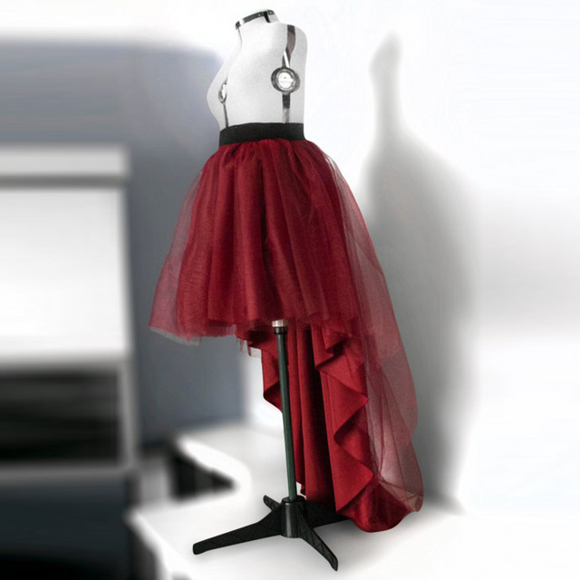 286058d6f9 Hippie Style High Low Tulle Skirt Burgundy Fashion Maxi Skirt for Women to  Formal Party Gothic Faldas Saia Jupe European Clothes