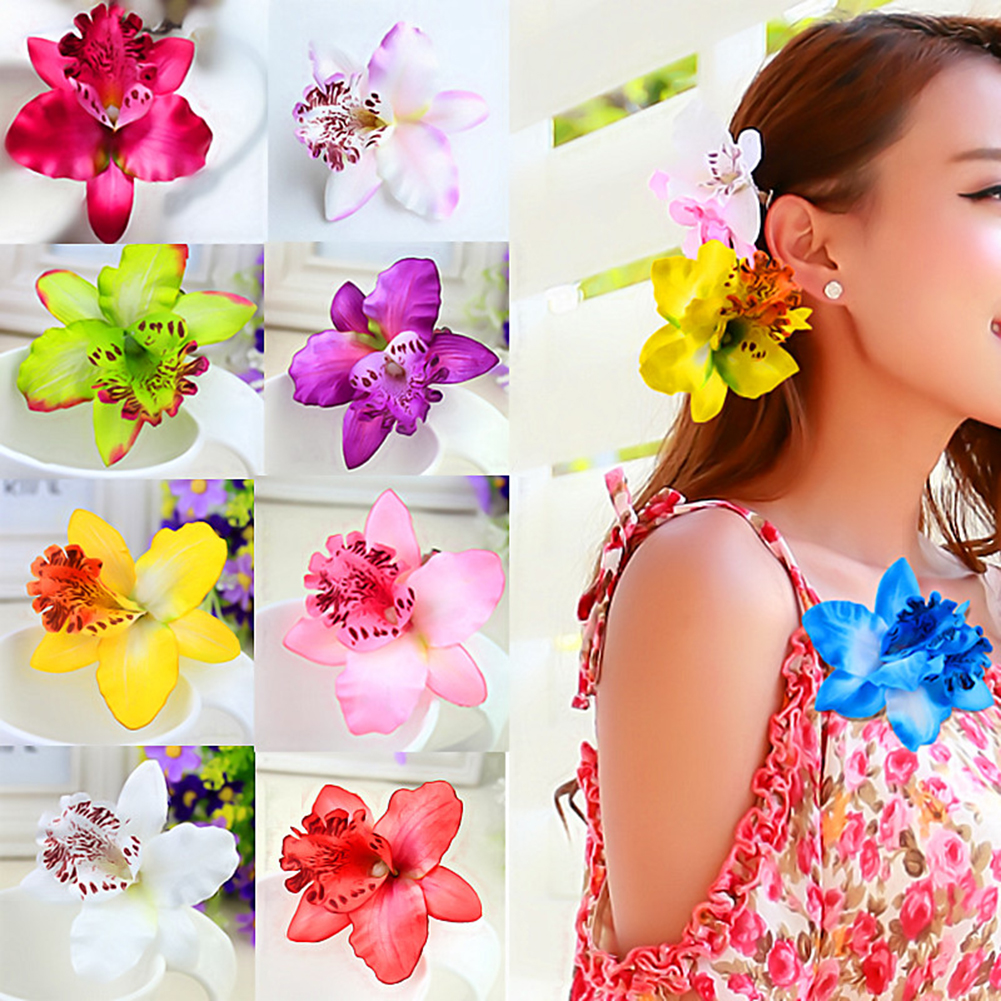 1PC New Gift Sand Beach Women Chic Fashion Flowers Hair Clips Hot Handmade Butterfly Orchid Fake 18 Colors