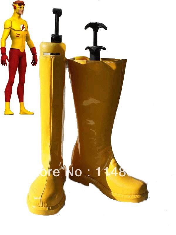 Kid Flash Superhero Boots Yellow Cosplay Boots