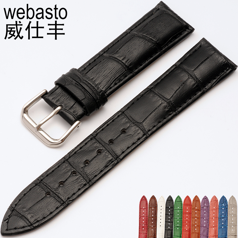 Durable Mens Soft WatchBand 12 14 16 17 18 19 20 21 22 24 26 28 mm Sweatproof Alligator Leather Apply To Multi-brand Watches ...