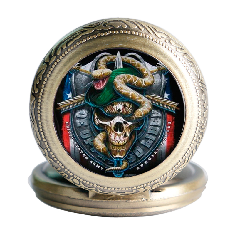 Vintage Hot Green Beret Skull Fashion Army Special Force Modern Retro Quartz Poencket Watch Rotatable Case Necklace Men Wom Gift