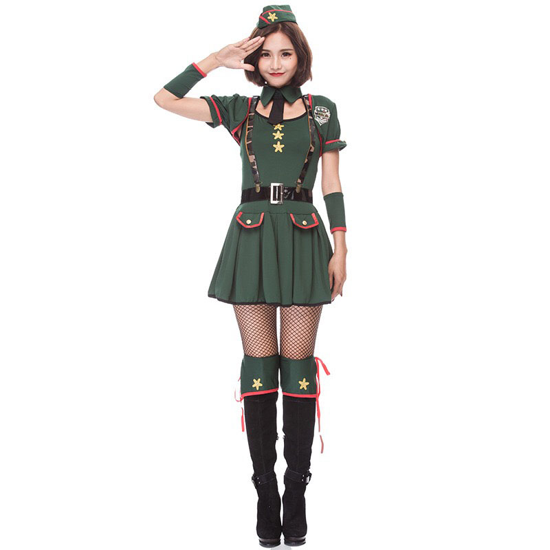 Adult Women Halloween Military Costume Short Sexy Green Pleated Dress Cosplay Porn -6446