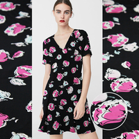 18momme 114cm Width Black Base Pink Flowers Printed Summer Dress Shirt Clothing Fabric 100 Mulberry Silk