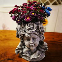 Outdoor Goddess Girl Head Resin Vase Statues Flower Pot Cupid Flower Grass Fairy Angel Sculptures Decoration Garden Vase Crafts