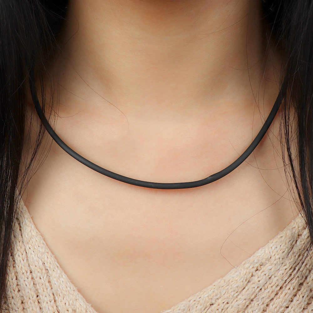 2mm czarny gumowy przewód naszyjnik bransoletka z zamknięciem ze stali nierdzewnej prosty naszyjnik kobiety mężczyźni biżuteria akcesoria