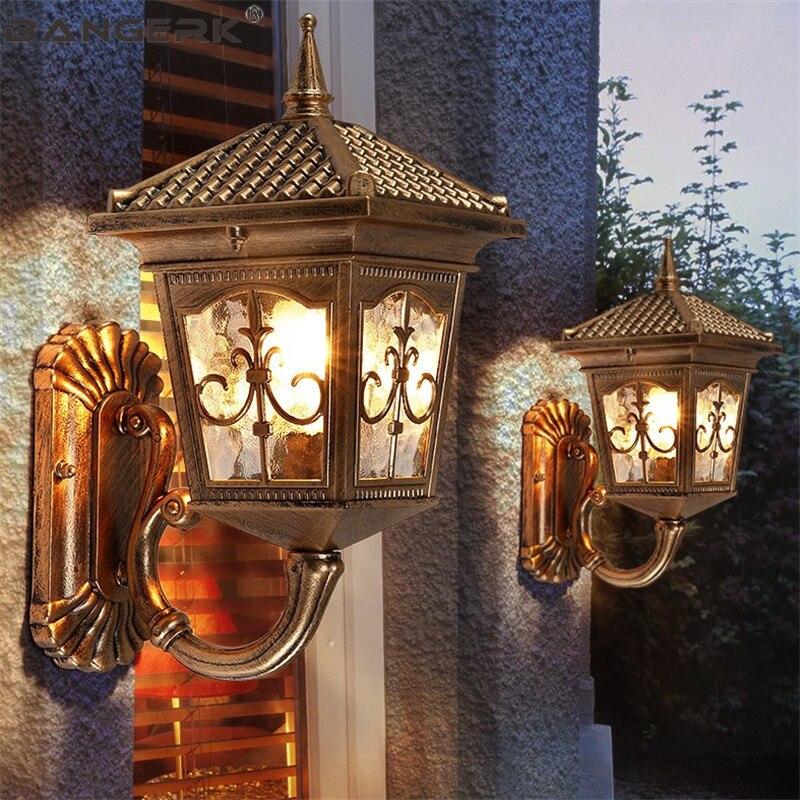 Appliques extérieures européennes appliques LED étanche porche lumières Vintage applique murale jardin balcon aluminium luminaires