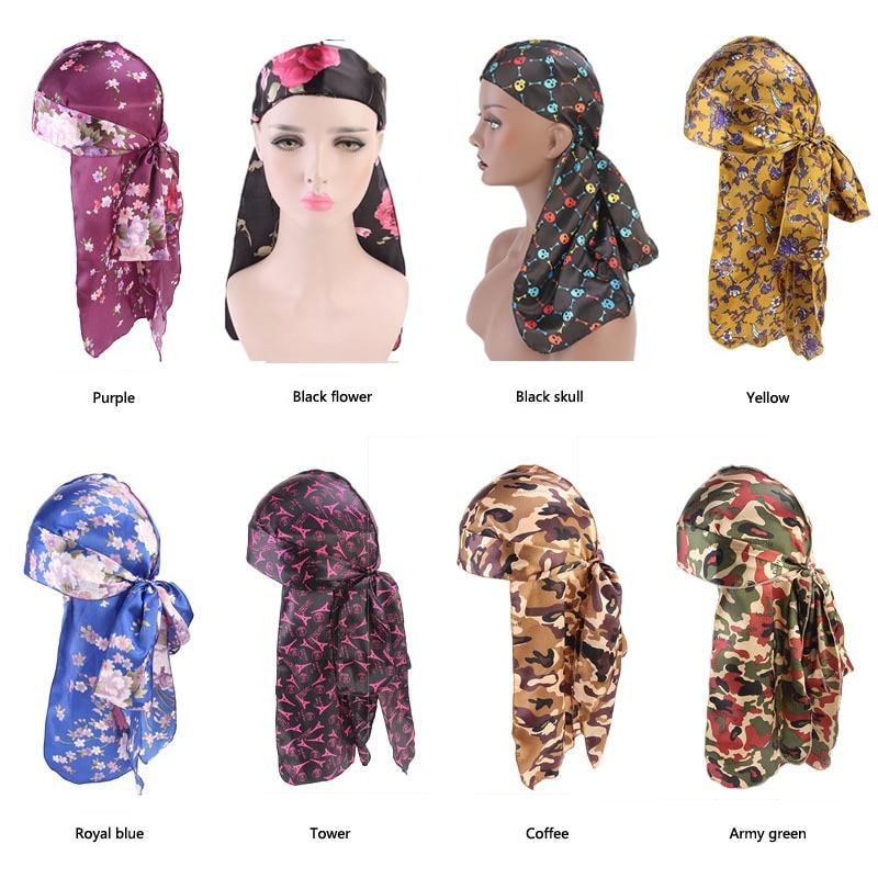Unisex Men Women Bandana Durag Head Wrap Hat Silky Pirate Cap Turban Long Tail