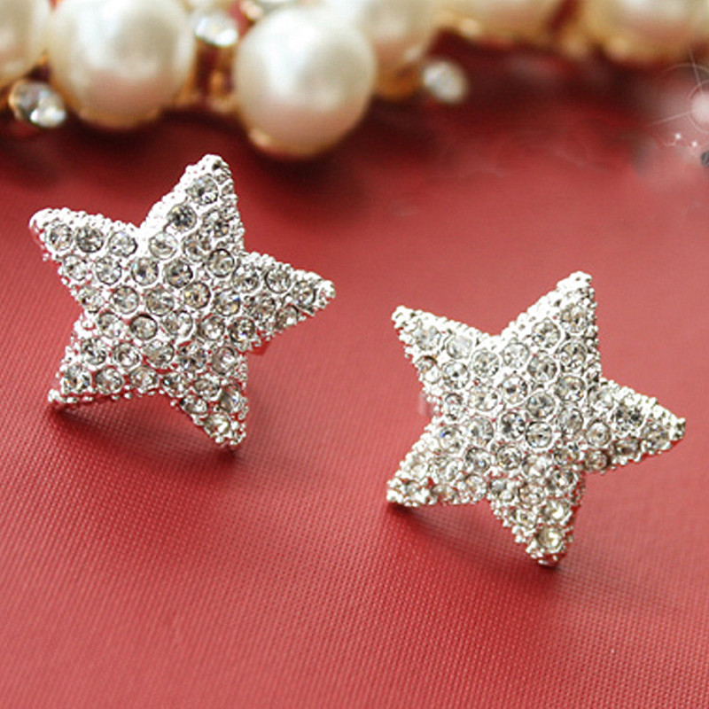 ES833 Fashion 2018 New Silver plated imitation pentagram earrings full Jewelry Accessories