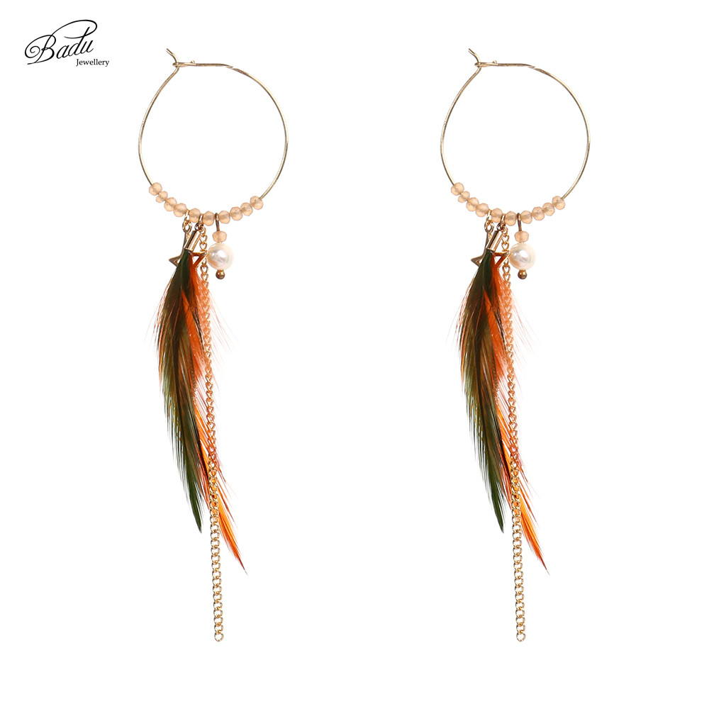 Badu Gold Hoop Earring Round Copper Circle Korean Style Long Earring Lovely Jewelry Women Daily Fashion Young Girls in Hoop Earrings from Jewelry Accessories