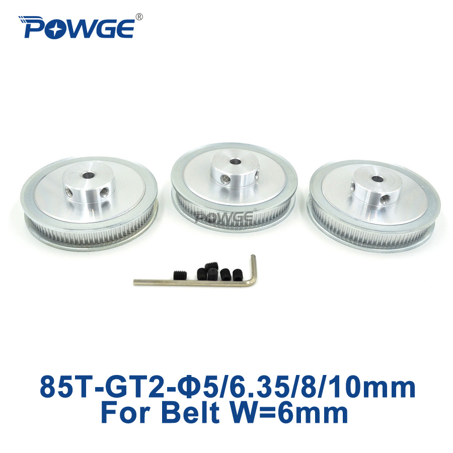 POWGE 3pcs 85 Teeth GT2 Timing Pulley Bore 5mm 6.35mm 8mm 10mm for width 6mm GT2 synchronous Belt 2GT Belt pulley 85Teeth 85T купить в Москве 2019