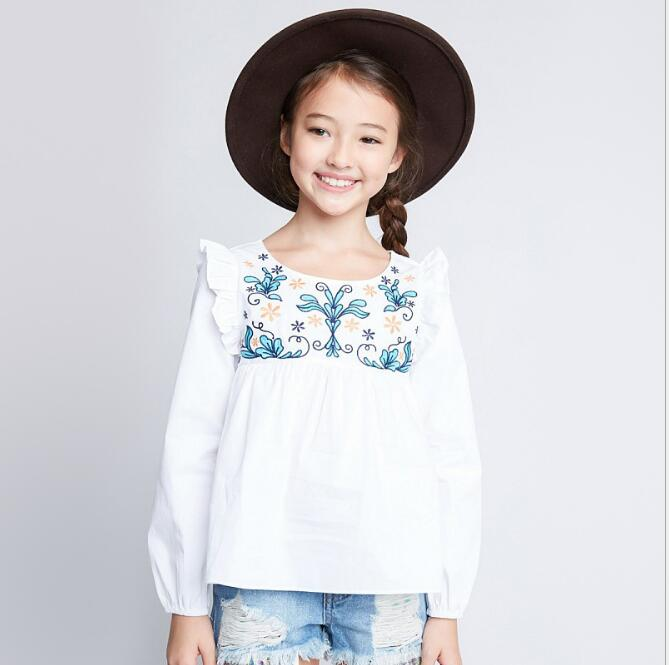 2017 Teenager Embroidery Floral Shirts Junior Fashion Ruffles Blouse Big Babies Autumn casual Jumper tops Baby clothes
