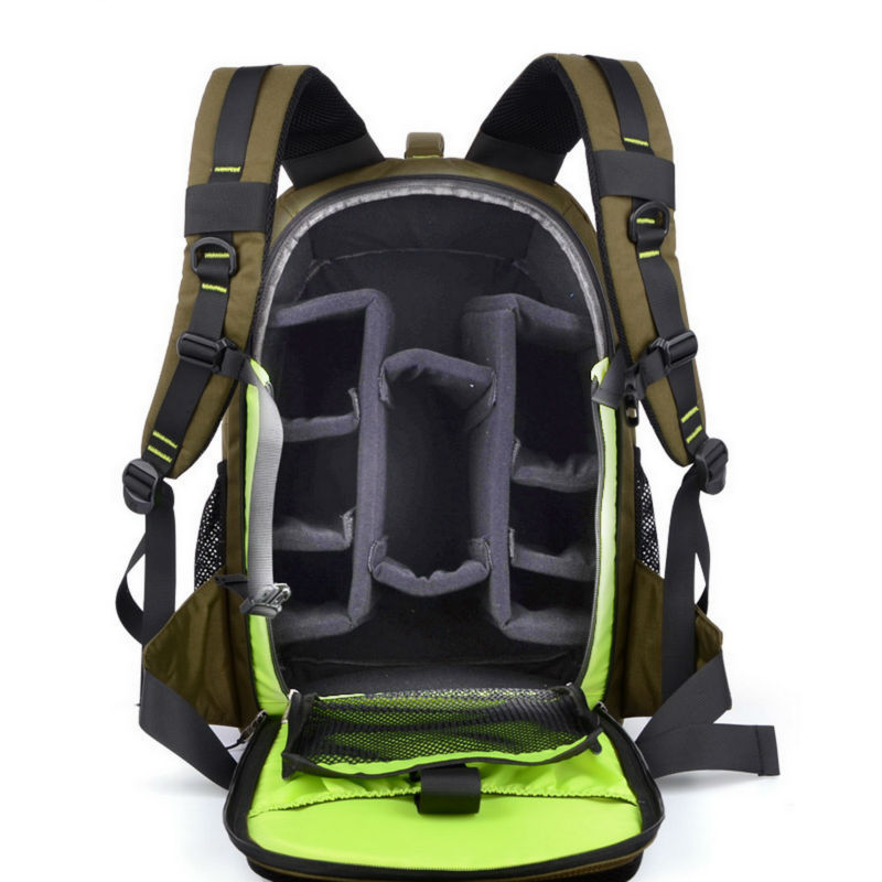SINPAID Digital DSLR SLR Camera Backpack Large Space <font><b>Photography</b></font> Bag Case Anti Shock for Canon Nikon Color Army Green and Black